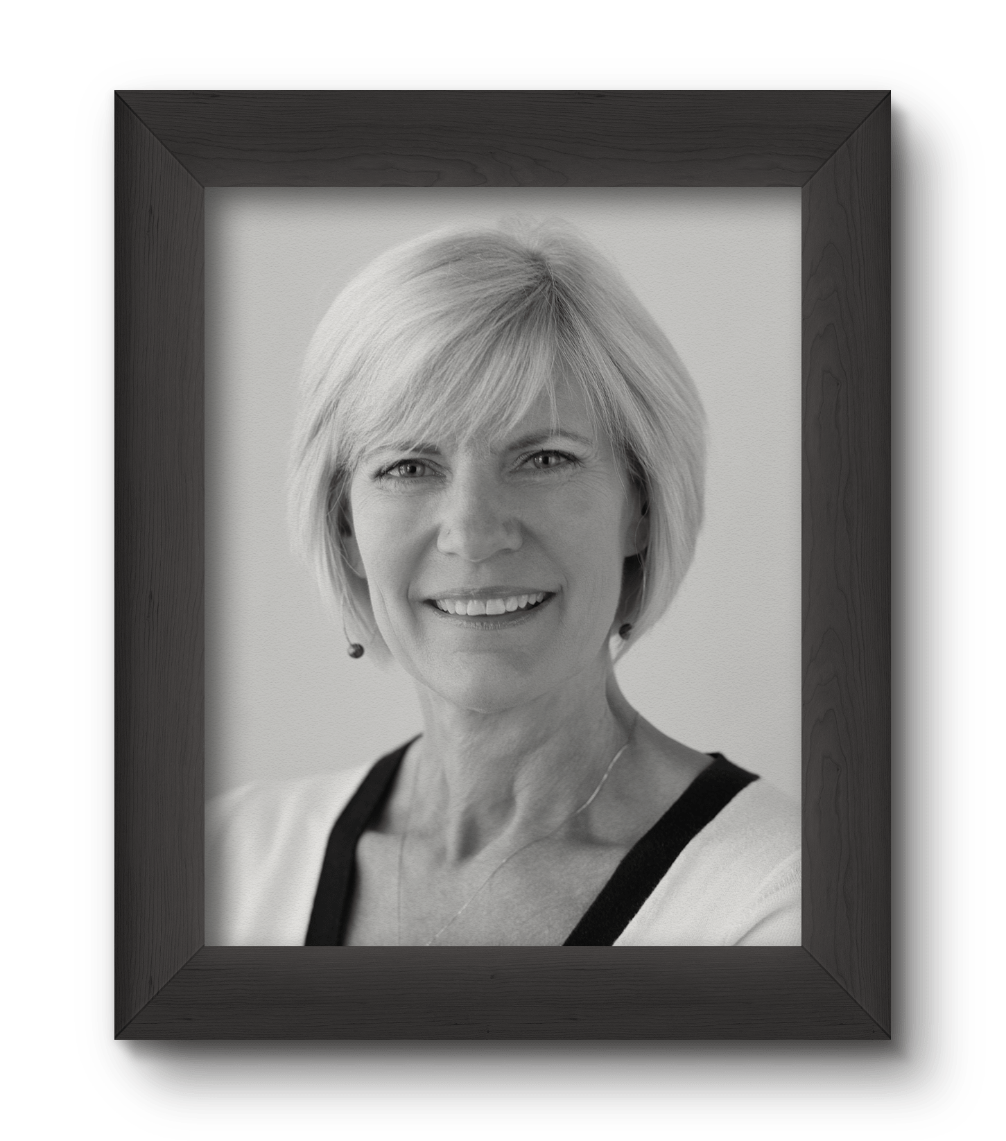 Debbie Kent photo in a black photo frame in black and white